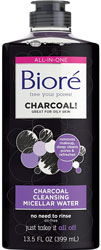 Biore Charcoal Cleansing Micellar Water Makeup Remover for Acne Pores