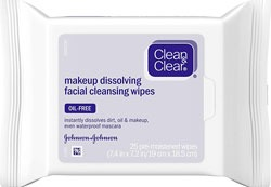 Clean and Clear Oil Free Makeup Remover Wipes for Acne Oily Combination Skin